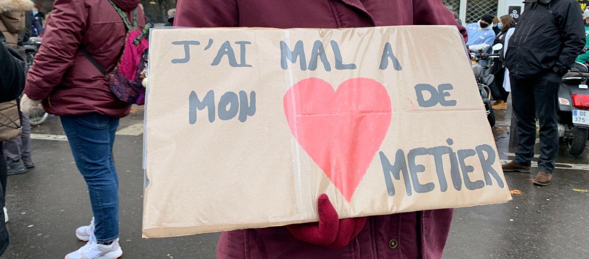 Manifestation des soignants à Paris à côté du ministère de la Santé, le 21 janvier 2021 - Sputnik France, 1920, 21.01.2021