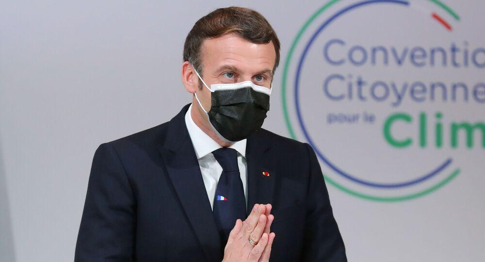 Emmanuel Macron devant la Convention citoyenne pour le climat (CCC), le 14 décembre 2020
