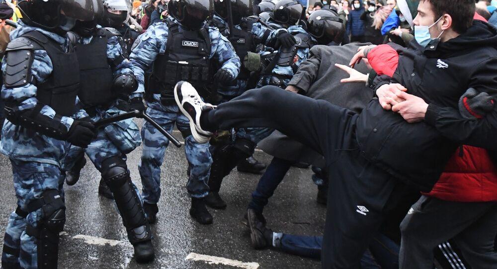 Lors d'une action de soutien à Alexeï Navalny à Moscou