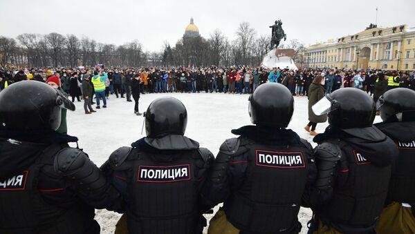 manifestation non autorisée en soutien à Alexeï Navalny à Saint-Pétersbourg, samedi 23 janvier - Sputnik France
