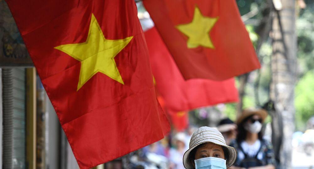 Une rue de Hanoi en 2020 (Photo de Nhac NGUYEN / AFP)