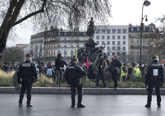 Nouveau samedi de manifestation contre la loi Sécurité globale à Paris, le 30 janvier