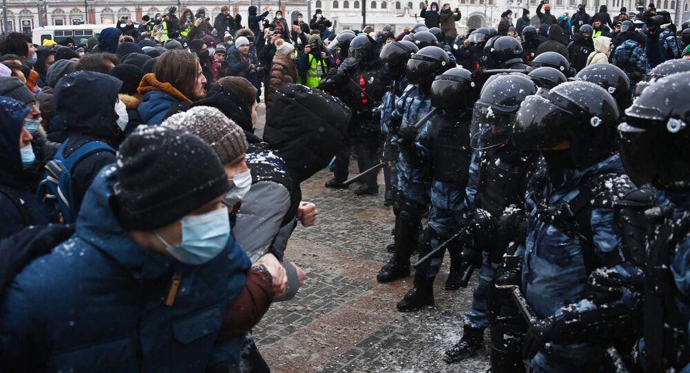 Un rassemblement non-autorisé en soutien à Alexeï Navalny, 31 janvier 2021