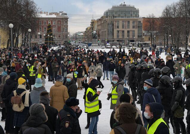 Manifestation non-autorisée en soutien à Navalny à Saint-Pétersbourg, le 31 janvier