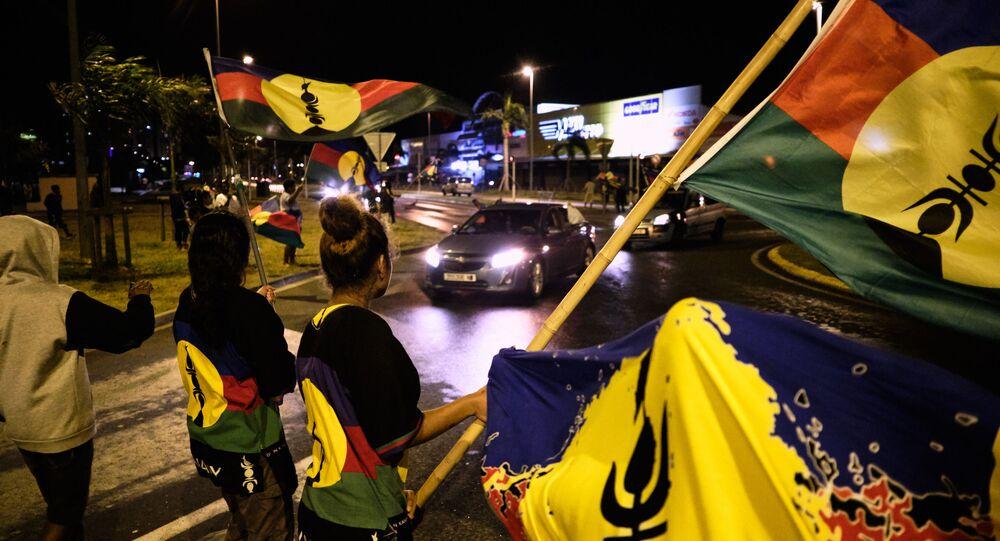 Partisans de l'indépendance de la Nouvelle-Calédonie lors du référendum du 4 octobre 2020 (Photo de Theo Rouby / AFP)