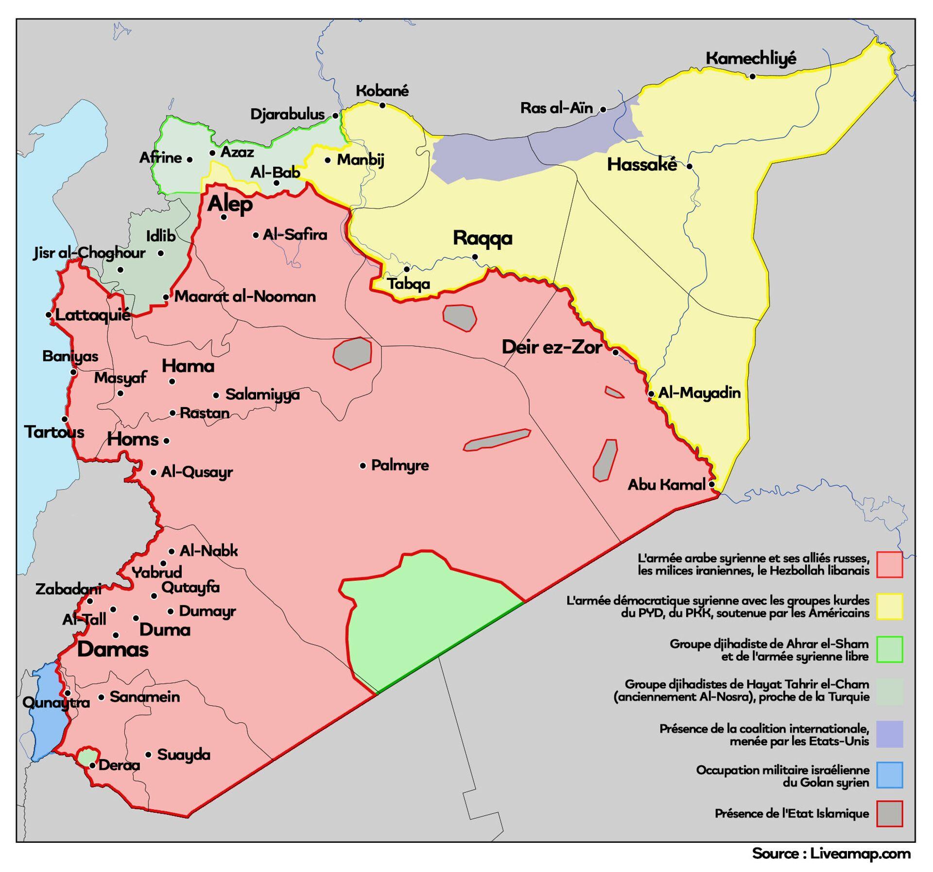 Carte de la situation militaire en Syrie février 2021 - Sputnik France, 1920, 21.09.2021