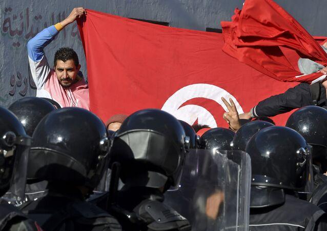 Des manifestants en Tunisie