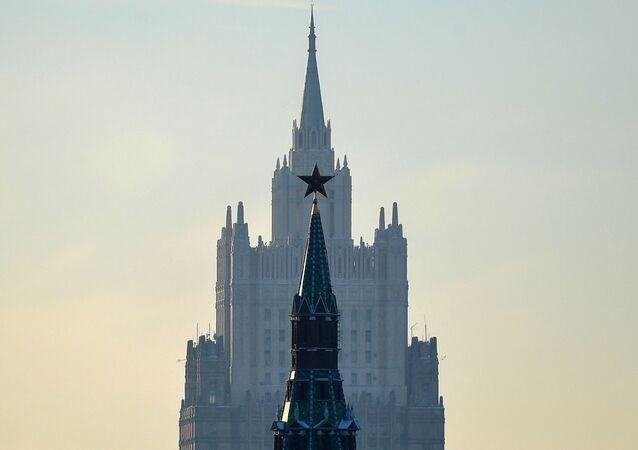 Une vue sur le bâtiment du ministère russe des Affaires étrangères