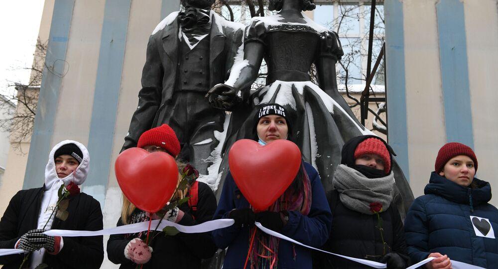 Action «chaîne de la solidarité» à Moscou, le 14 février 2021