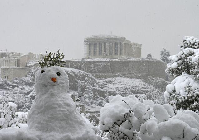 Athènes sous la neige