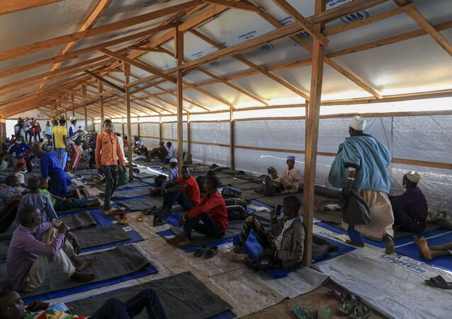 Un groupe de réfugiés centrafricains dans le camp de Gado, Cameroun.