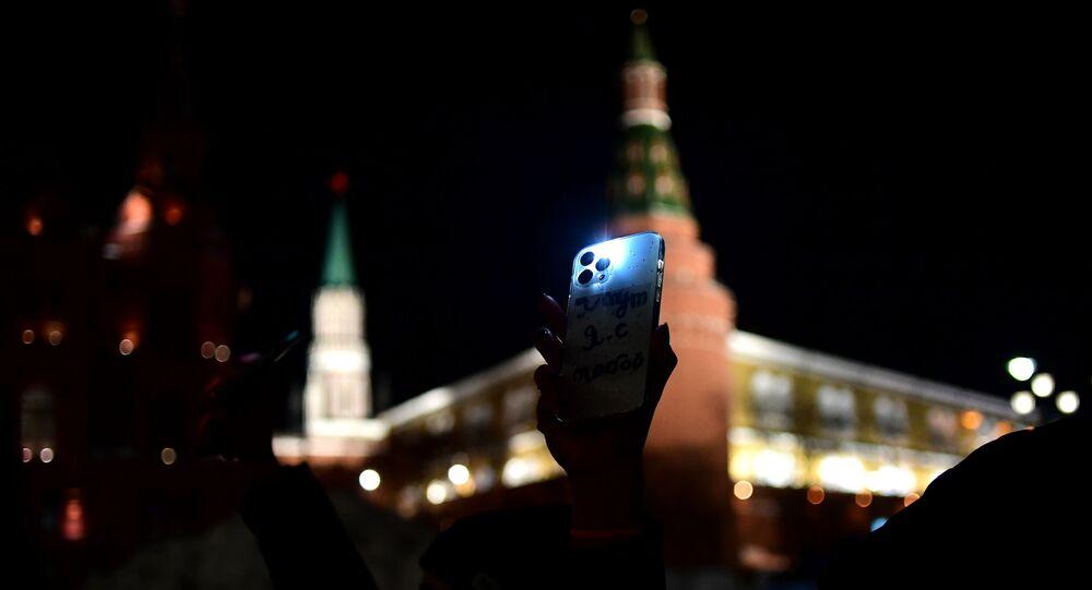 Action des partisans de Navalny avec des lampes de poche allumées, le 14 février 2021