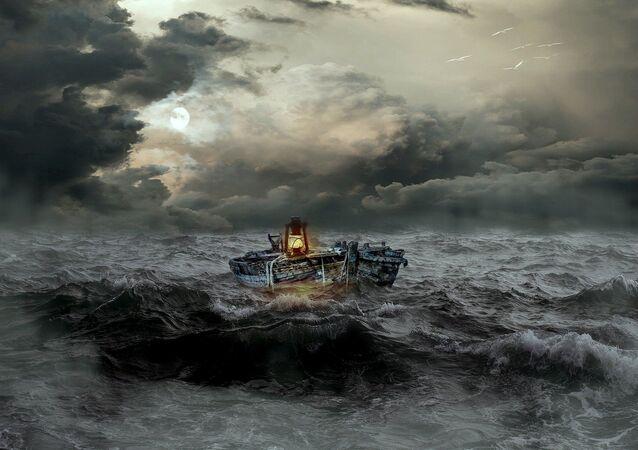 Bateau dans la tempête