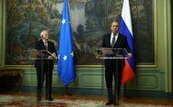 Serguei Lavrov et Josep Borrell à Moscou le 5 février 2021 (AFP PHOTO / Russian Foreign Ministry / handout)