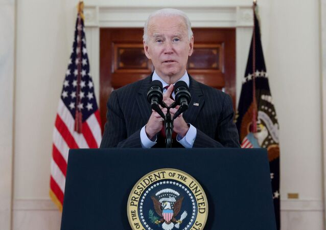 U.S. President Joe Biden delivers remarks in honor of the 500,000 U.S. deaths from the coronavirus disease (COVID-19), in the Cross Hall at the White House in Washington, U.S., February 22, 2021.