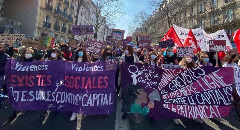 Journée internationale des droits des femmes: manifestation à Paris, 8 mars 2021