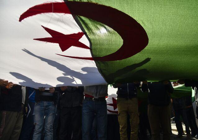 Des manifestants algériens brandissent le drapeau national lors d'une manifestation dans la capitale Alger, le 28 février 2020.