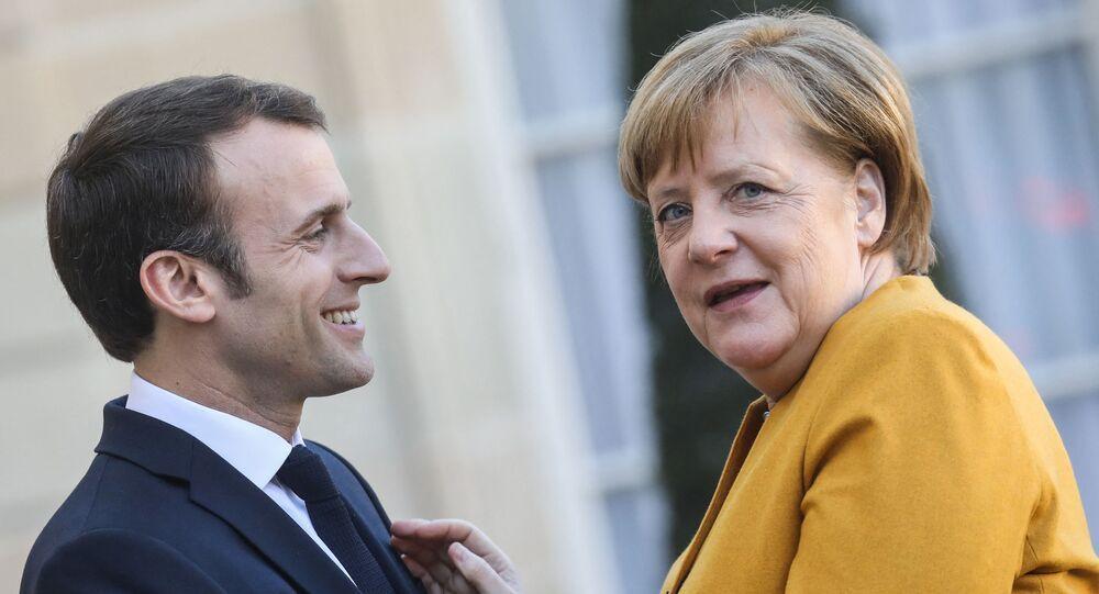 Emmanuel Macron accueille Angela Merkel à l'֤Élysée, 27 février 2019 (Photo LUDOVIC MARIN / AFP)