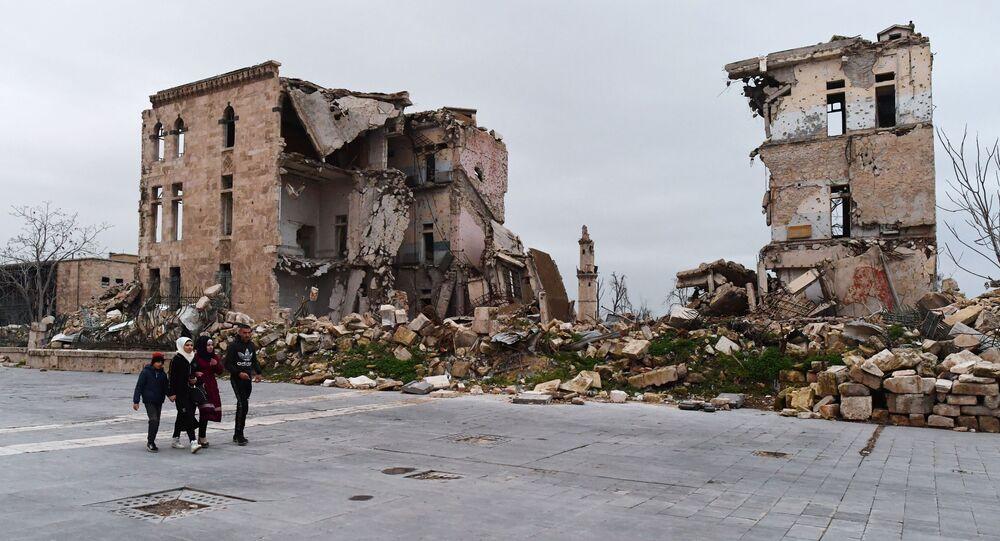 Un quartier détruit près de la citadelle d'Alep