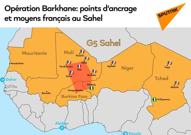 Opération Barkhane: points d'ancrage et moyens français au Sahel
