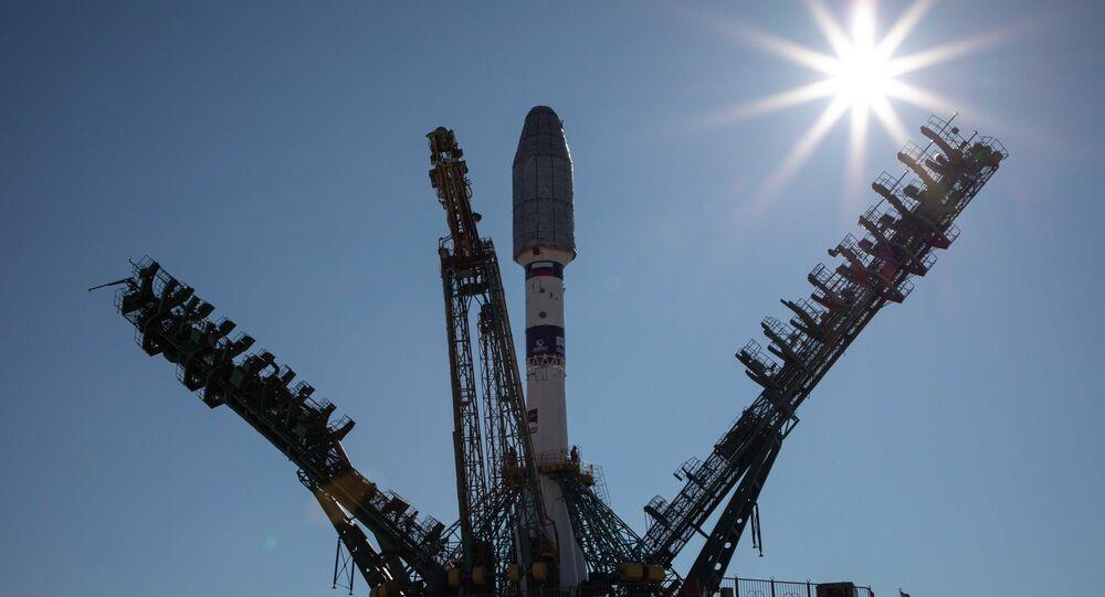 Une fusée Soyouz, avec un étage supérieur Fregat au cosmodrome de Baïkonour