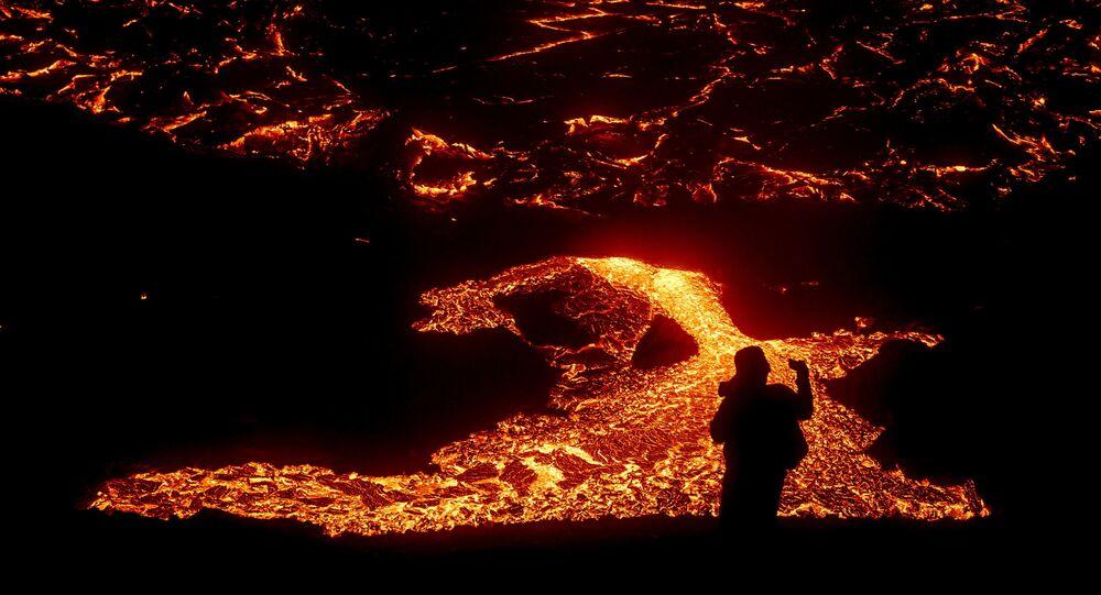 Le volcan Fagradalsfjall en éruption