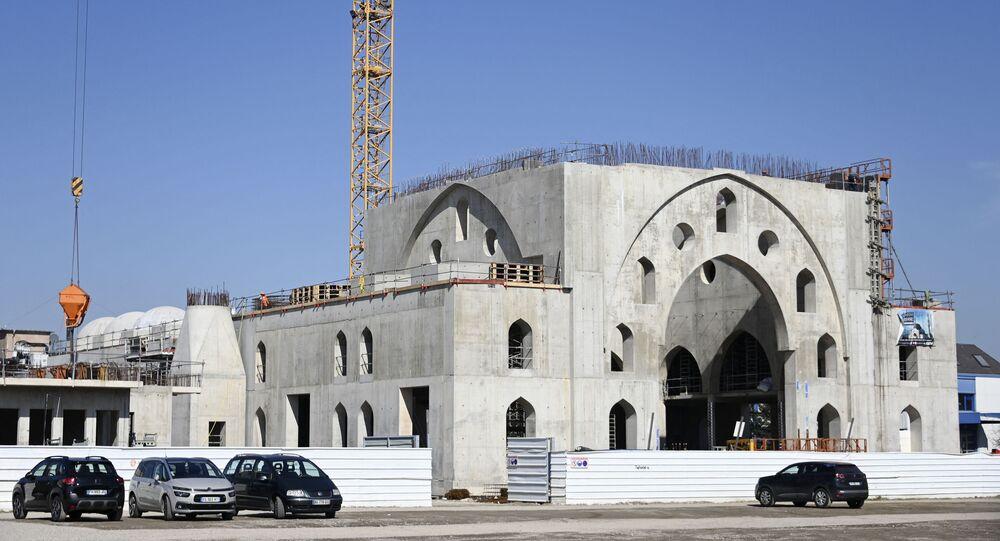 Le chantier de la mosquée Eyyub Sultan à Strasbourg dans le quartier de la Meinau, mars 2021