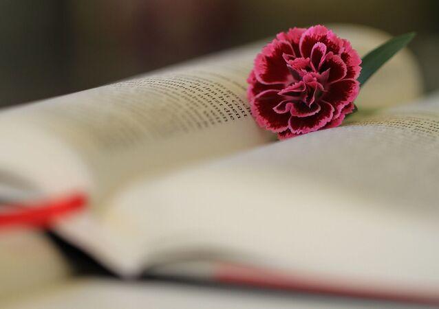 Une fleur sur une page de la Bible ouverte