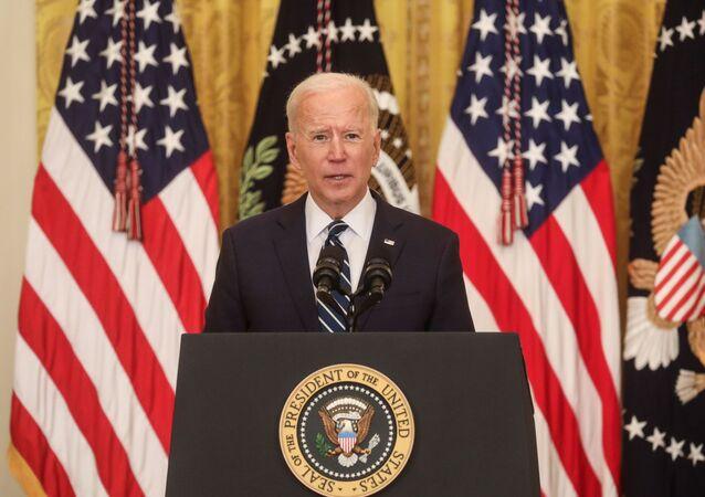 Joe Biden lors de sa première conférence de presse à la Maison-blanche