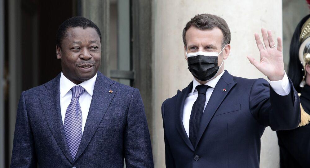 Le Président togolais Faure Gnassingbé est reçu à l'Élysée par Emmanuel Macron, le 9 avril 2021