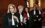 Le Parquet National Financier: de gauche à droite, la magistrate Ariane Amson, la procureur Eliane Houlette, les vice-procureurs Monica d'Onofrio et Patrice Amar, et la procureur Lovisa-Ulrika Delaunay-Weiss, le 3 mars 2014.