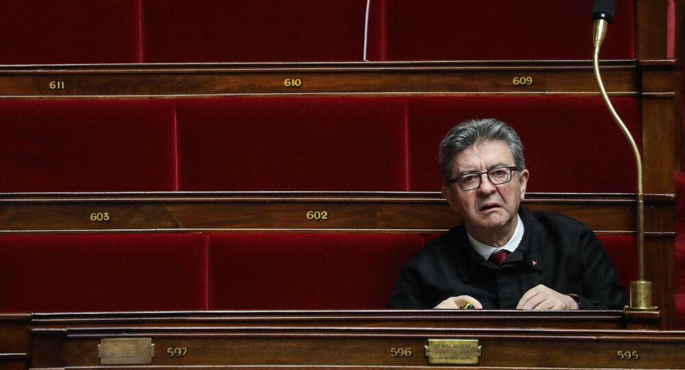 Le député des Bouches-du-Rhône et président du groupe La France insoumise à l'Assemblée nationale, Jean-Luc Mélenchon, le 3 mars 2020 à l'Assemblée