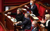 Les députés La France insoumise Jean-Luc Mélenchon, Adrien Quatennens, Alexis Corbière et Bénédicte Taurine à l'Assembée nationale, octobre 2020