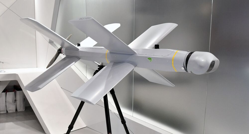 Le drone-kamikaze Zala Lancet exposé au stand du groupe Kalachnikov (juin 2019)