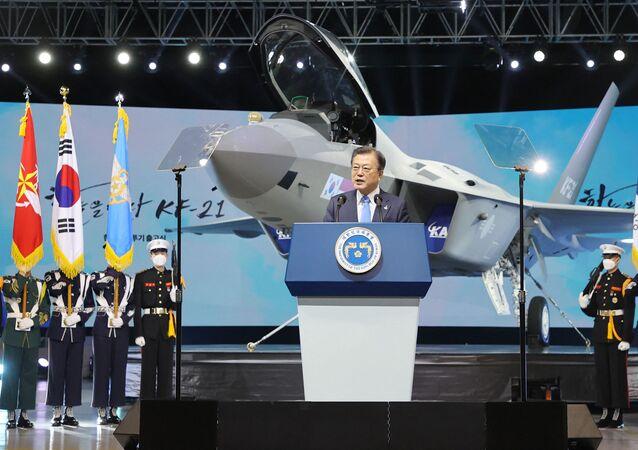 Le Président sud-coréen Moon Jae-in à Sacheon, le 9 avril 2021