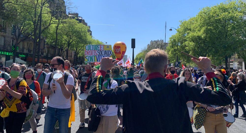Manifestation interprofessionnelle à Paris contre la réforme de l'assurance chômage 23 avril 2021