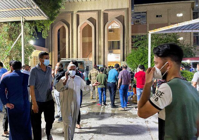 L'hôpital Ibn Khatib après un incendie causé par l'explosion d'une bouteille d'oxygène à Bagdad, le 25 avril 2021