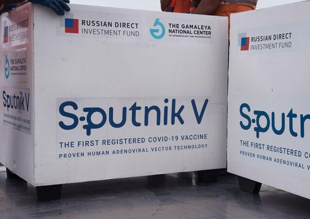 Un lot du vaccin russe Spoutnik V exporté à l'étranger (archive photo)