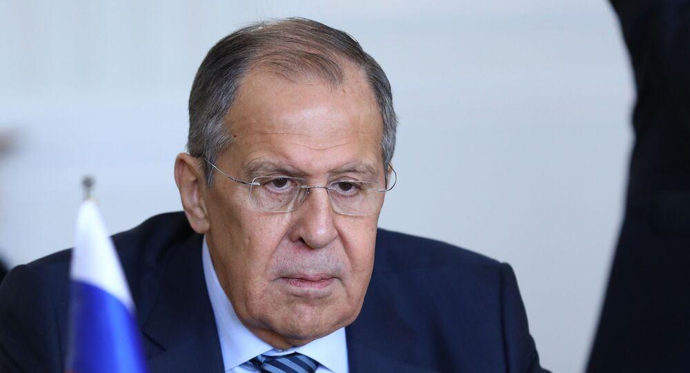 Sergueï Lavrov lors d'une rencontre avec Mohammad Javad Zarif à Téhéran
