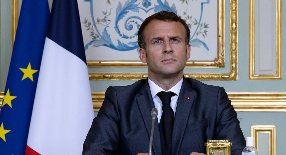 Le président de la République française Emmanuel Macron, avril 2021