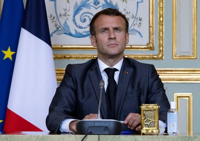 Le président de la République française Emmanuel Macron, le 22 avril 2021