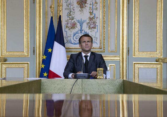Le Président de la République française, Emmanuel Macron, le 21 avril 2021