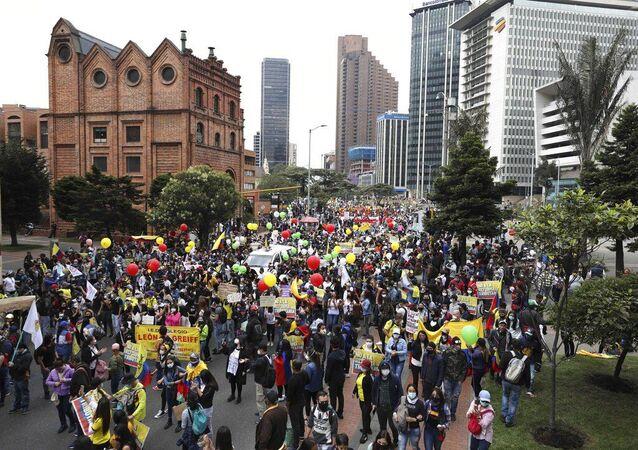 Protestations à Bogota. Le 28 avril 2021.