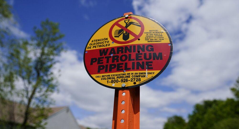 Un panneau d'avertissement installé près du Colonial Pipeline à Garnet Valley, aux États-Unis