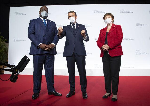 Félix Tshisekedi, Emmanuel Macron et Kristalina Gueorguieva lors du Sommet sur le financement des économies africaines, le 18 mai 2021