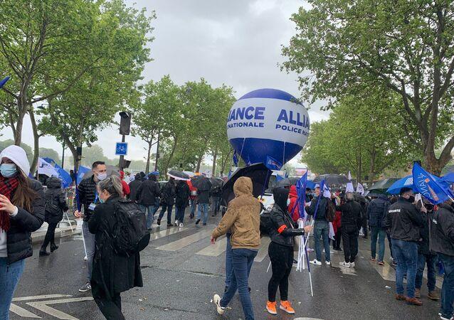 Manifestation des policiers devant l'Assemblée nationale à Paris, le 19 mai 2021
