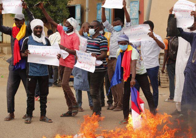 Manifestation à N'Djamena contre le Conseil de transition militaire (СTM) et l'ingérence de la France le 08.05.2021