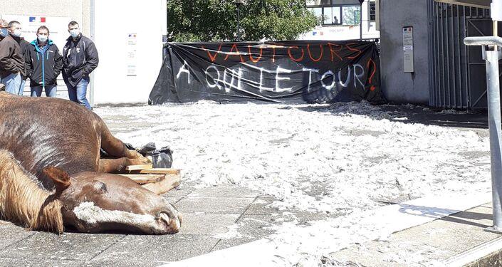 Action du syndicat «Jeunes agriculteurs» de l'Aveyron devant la direction départementale des territoires à Rodez, le 17 mai