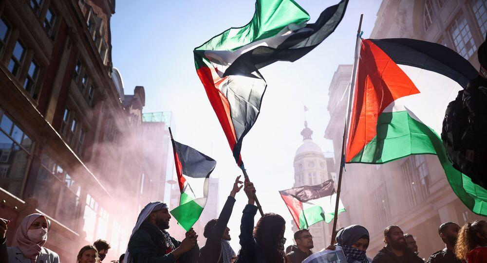 Une manifestation pro-Palestine à Londres, le 15 mai 2021
