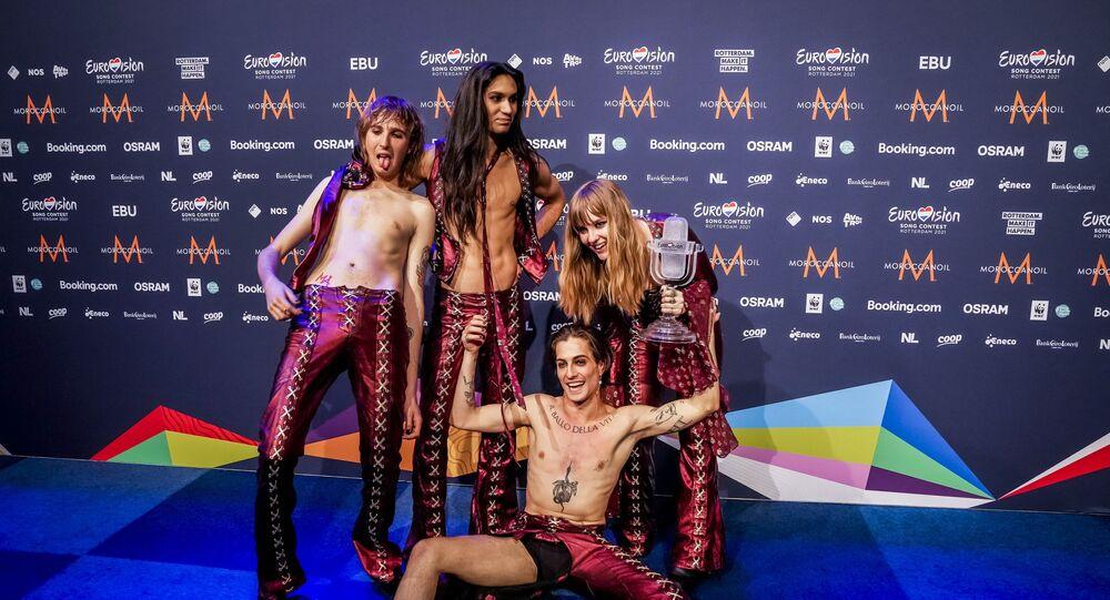 Le groupe italien Maneskin après sa victoire à l'Eurovision